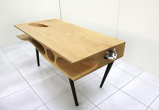 darbo stalas katės žaidimų aikštelė