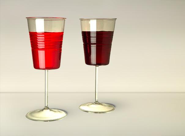 plastikinė vyno taurė